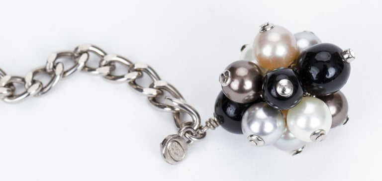 Chanel Black & White Pearl Necklace Belt 5