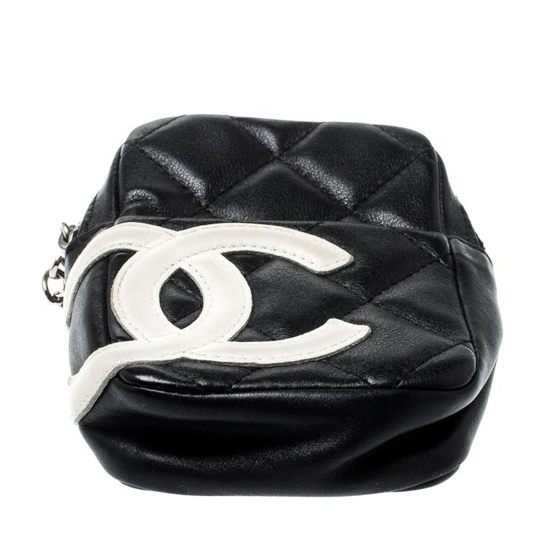 Women's Chanel Black/White Quilted Leather Cambon Ligne Phone Case For Sale