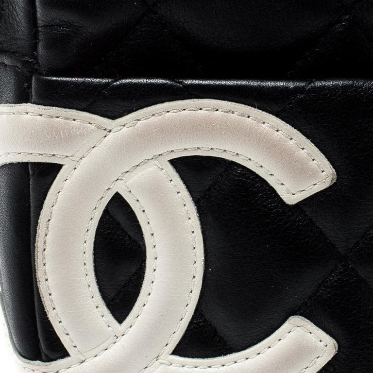 Chanel Black/White Quilted Leather Cambon Ligne Phone Case For Sale 5