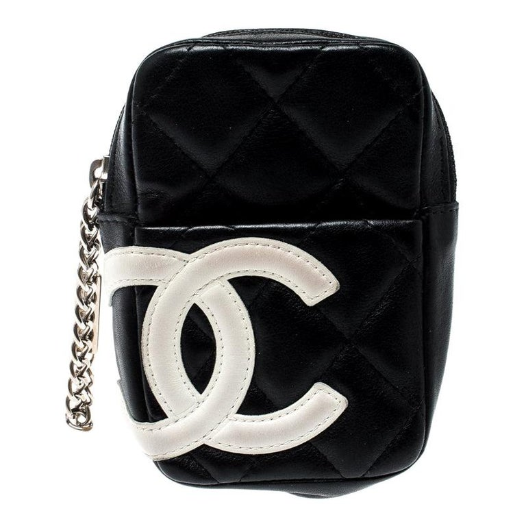 Chanel Black/White Quilted Leather Cambon Ligne Phone Case by 1 Stdibs