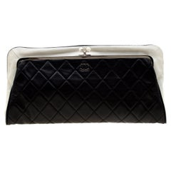 Chanel Black/White Quilted Leather Fold Over Clutch