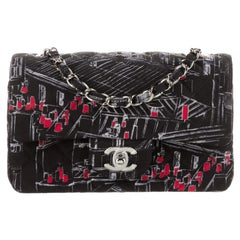 Chanel Black White Red Fabric Silver Small Mini Evening Shoulder Flap Bag