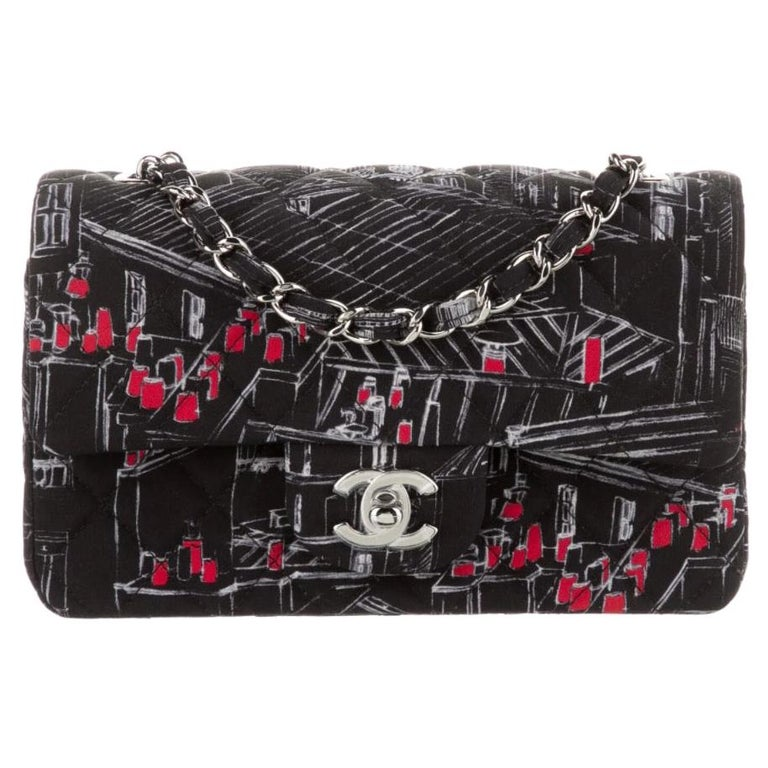 Chanel Black White Red Fabric Silver Small Mini Evening Shoulder Flap Bag  For Sale