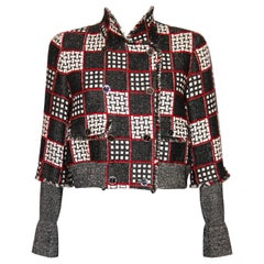 Chanel Black, White & Red Fantasy Tweed Cropped Jacket