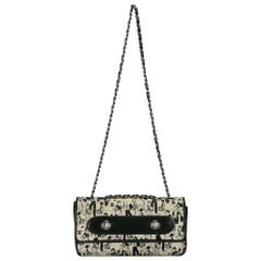 Chanel Black/White Satin and Leather Coco Mademoiselle Flap Bag