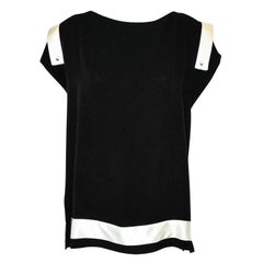 Chanel Black & White Short Sleeve Silk Top