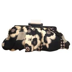 Chanel Black White Silk Camillia Clutch Bag