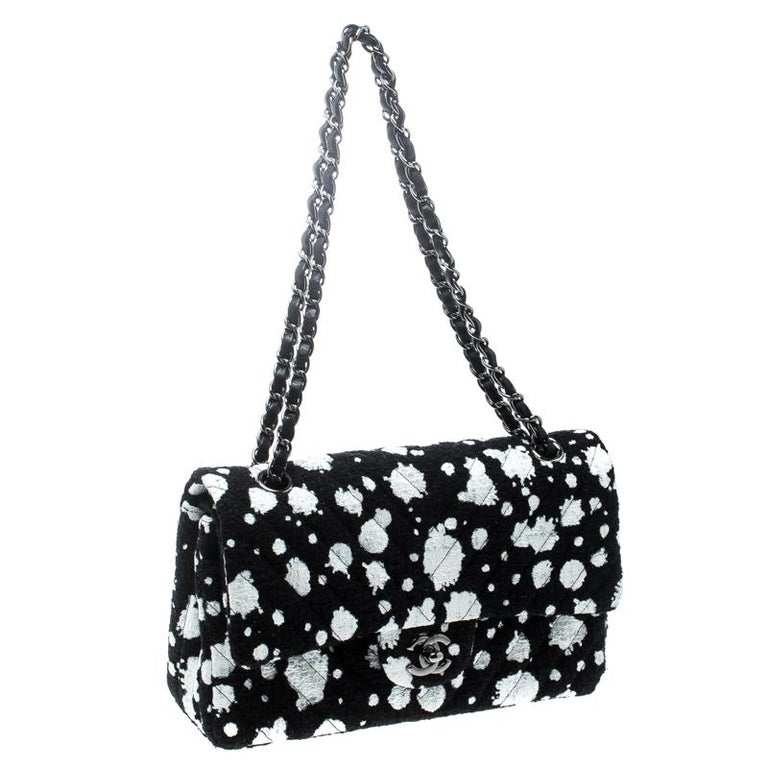 ce59ca812ab2 Chanel Black/White Splatter Paint Tweed Medium Classic Double Flap Bag For  Sale 6