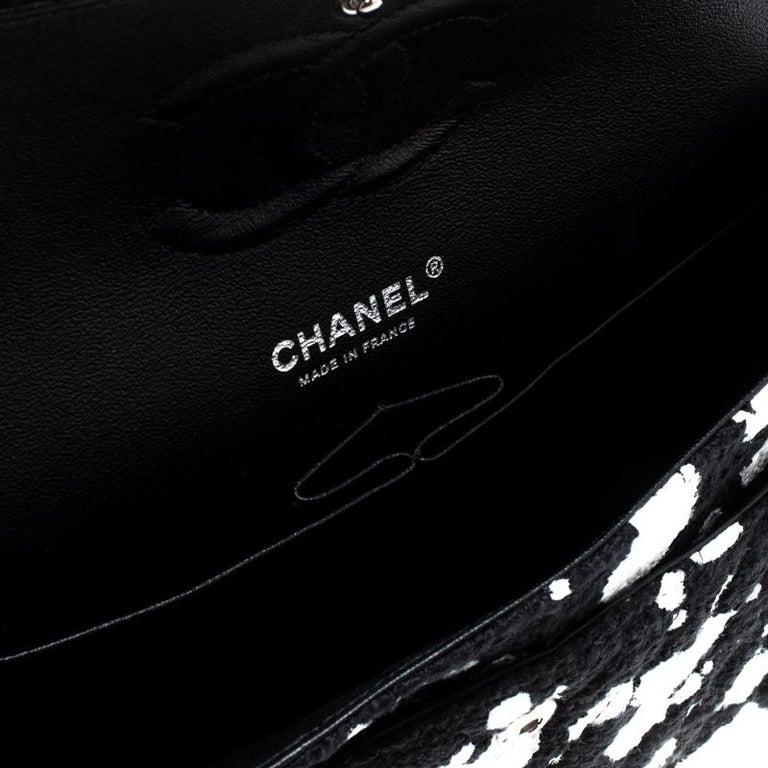 0faa6b43f523 Chanel Black/White Splatter Paint Tweed Medium Classic Double Flap Bag For  Sale 2