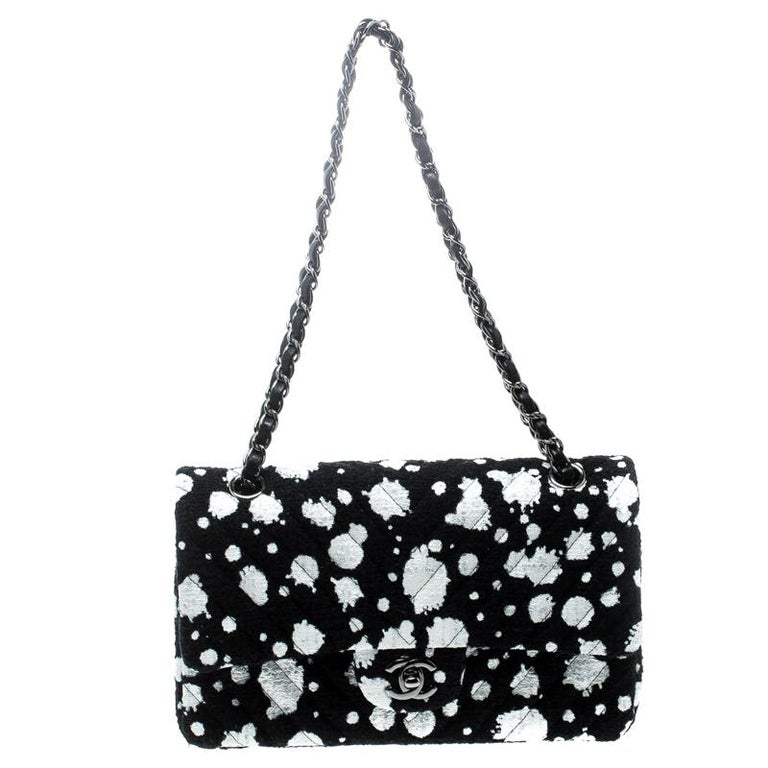 0ab464894200 Chanel Black White Splatter Paint Tweed Medium Classic Double Flap Bag For  Sale