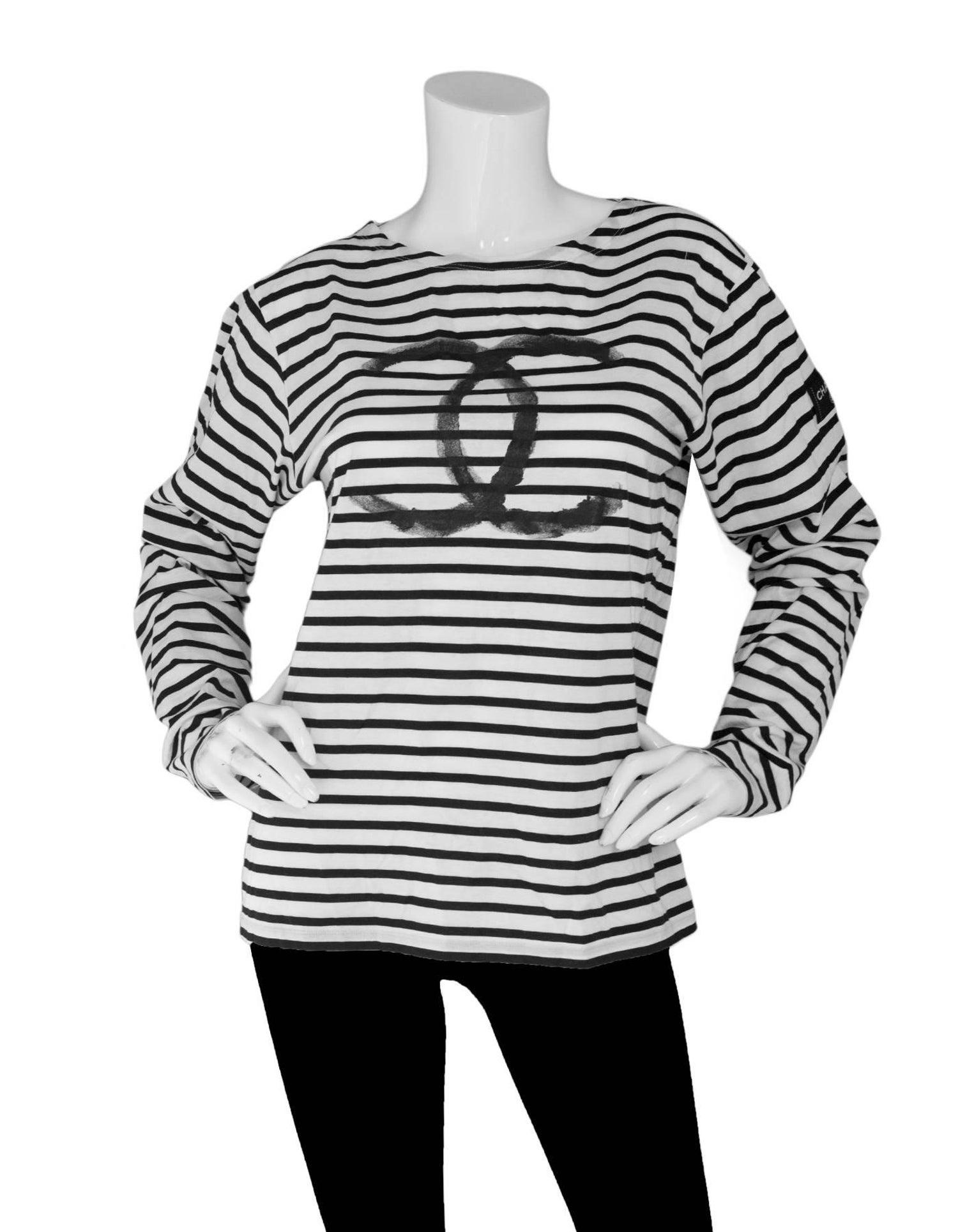 Chanel black and white stripe cc uniform top sz l at 1stdibs