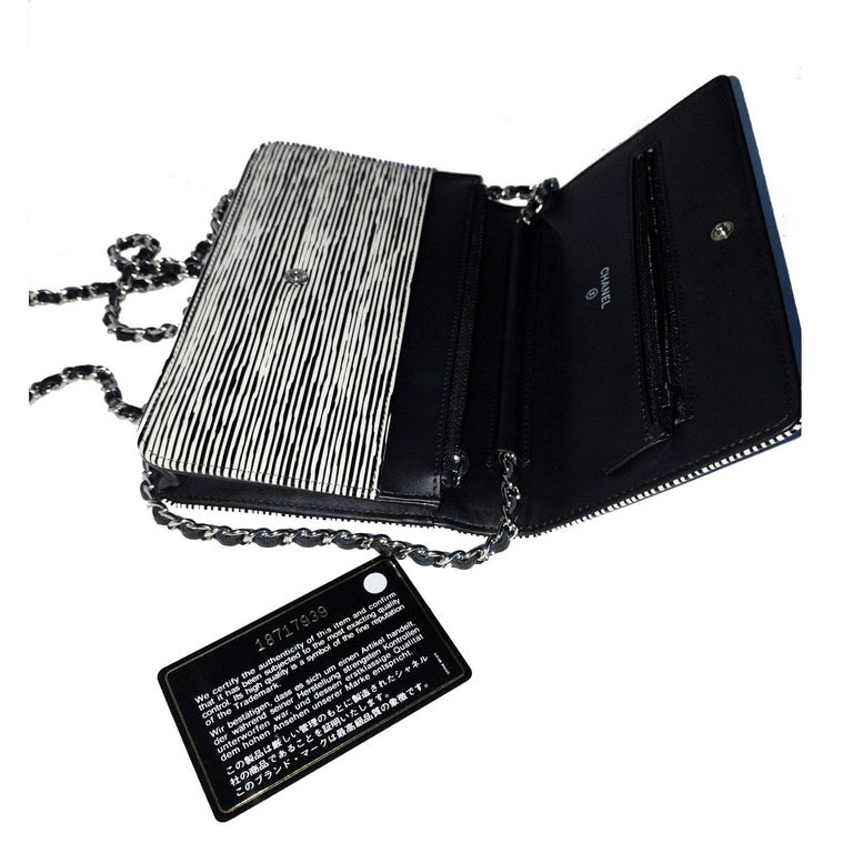Chanel Black & White Striped Patent Leather Wallet On Chain WOC For Sale 1