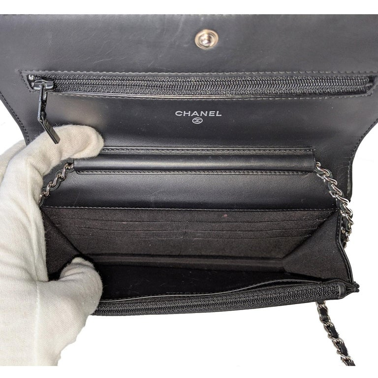 Chanel Black & White Striped Patent Leather Wallet On Chain WOC For Sale 2