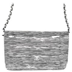 Chanel Black & White Striped Patent Leather Wallet On Chain WOC
