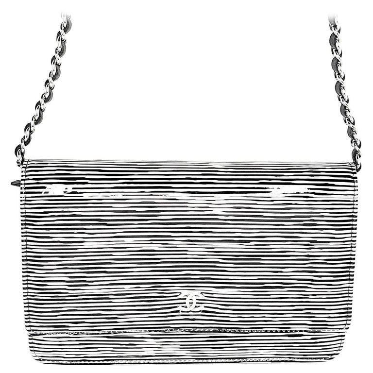 Chanel Black & White Striped Patent Leather Wallet On Chain WOC For Sale