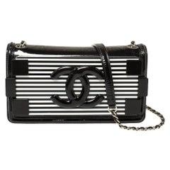 Chanel Black/White Striped Plexiglass East/West Boy Brick Flap Bag