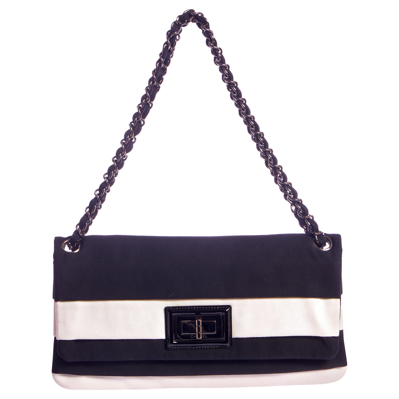 Chanel Black & White Striped Single Flap