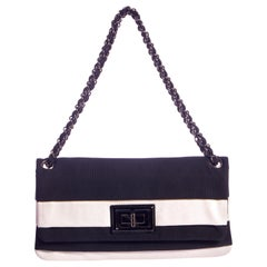 Chanel Black & White Striped Single Flap