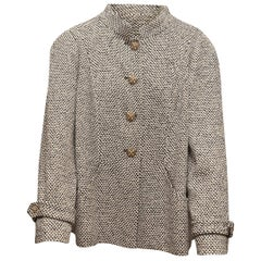 Chanel Black & White Tweed Cabochon Button Jacket