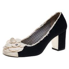 Chanel Black/White Tweed Escarpins Camellia CC Pumps Size 37