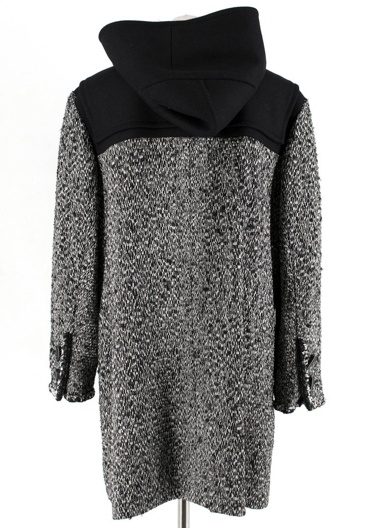 Chanel Black & White Tweed Knit Wool Blend Hooded Coat 46 In Excellent Condition For Sale In London, GB