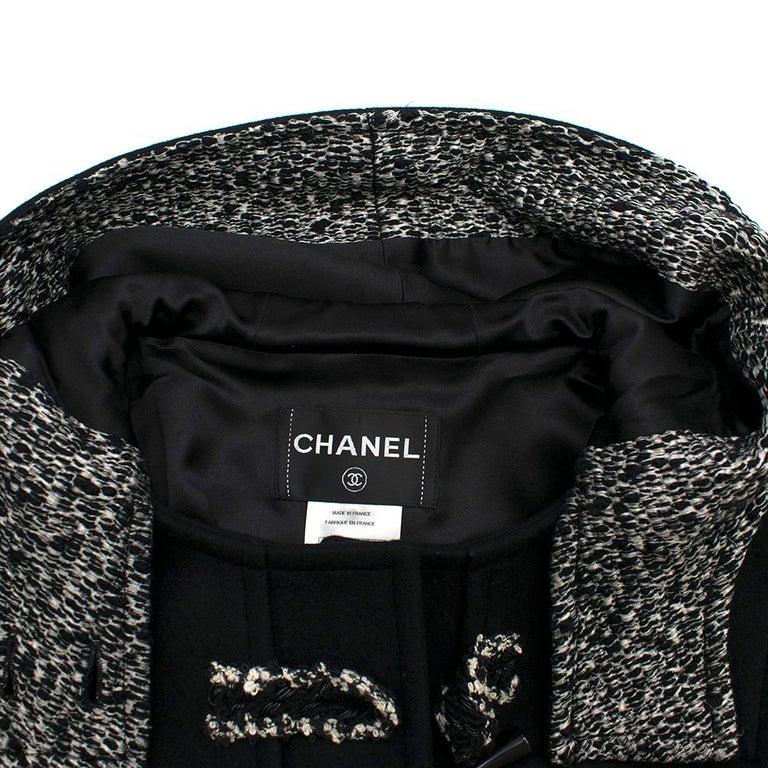 Women's Chanel Black & White Tweed Knit Wool Blend Hooded Coat 46 For Sale