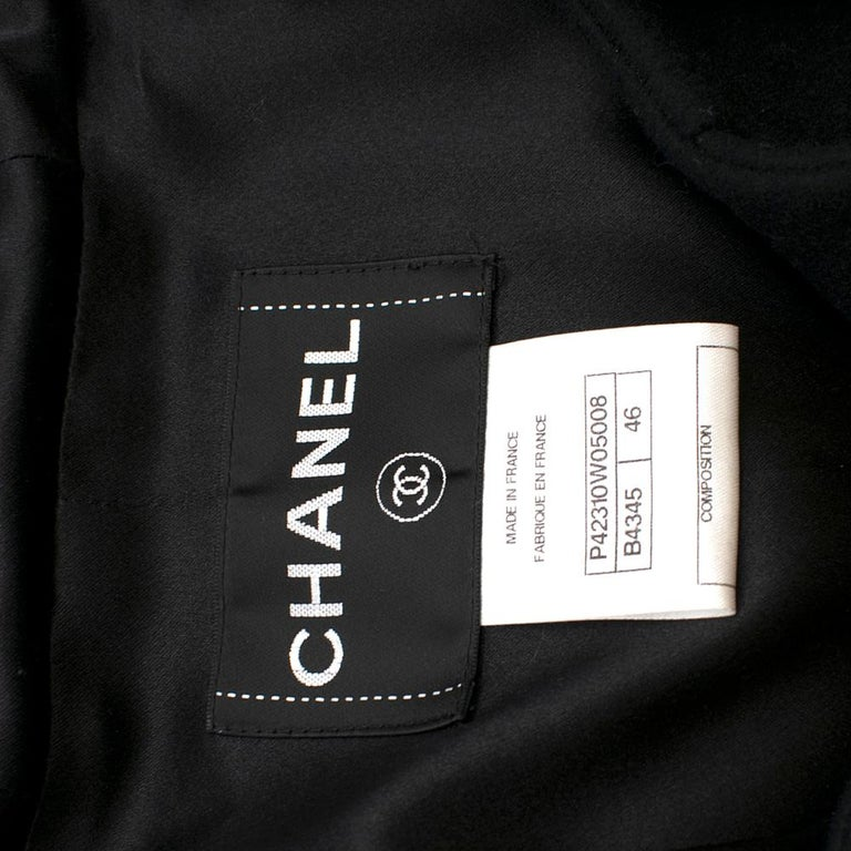 Chanel Black & White Tweed Knit Wool Blend Hooded Coat 46 For Sale 1