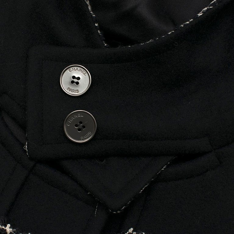 Chanel Black & White Tweed Knit Wool Blend Hooded Coat 46 For Sale 3