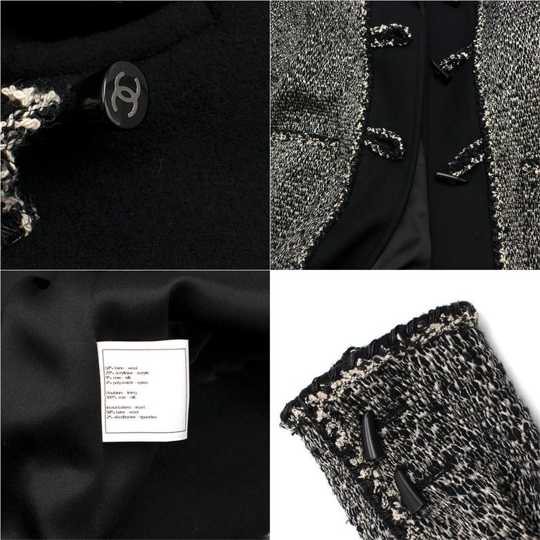 Chanel Black & White Tweed Knit Wool Blend Hooded Coat 46 For Sale 5