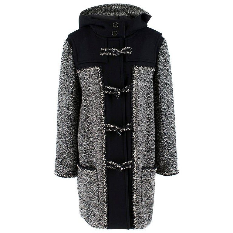 Chanel Black & White Tweed Knit Wool Blend Hooded Coat 46 For Sale