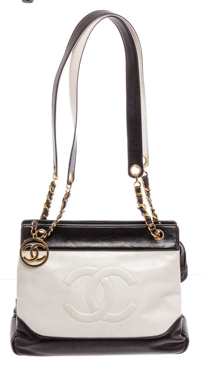Chanel Black White Two-Tone Leather Vintage Timeless CC Charm Shoulder Bag For Sale 1