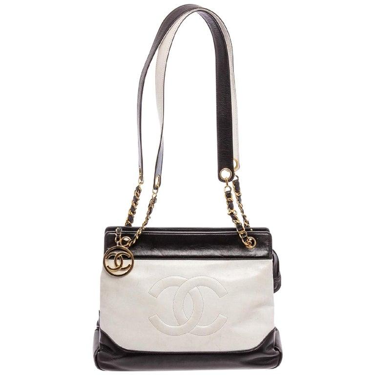 Chanel Black White Two-Tone Leather Vintage Timeless CC Charm Shoulder Bag For Sale