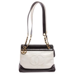 Chanel Black White Two-Tone Leather Vintage Timeless CC Charm Shoulder Bag