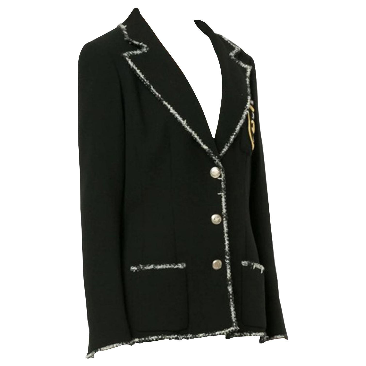 Chanel Black White W Devil Wears Prada Boucle Jacket Perfume Bottle Blazer