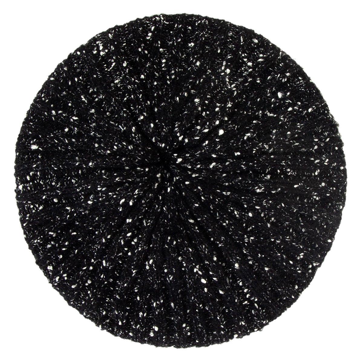 CHANEL black & white wool & cotton KNIT BERET Hat