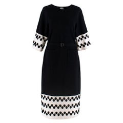Chanel Black & White Wool Knit Dress With Spotted Cuffs & Hem - Size US 4