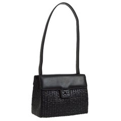 Chanel Black Wicker Basket Leather Top Handle Satchel Flap Shoulder Bag