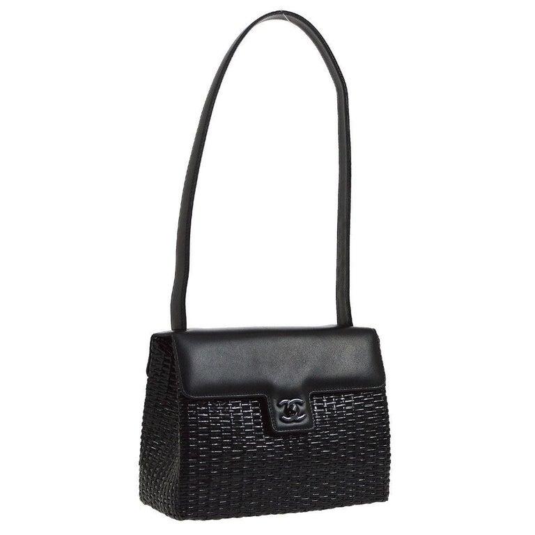 78cacfa5b968b Chanel Black Wicker Basket Leather Top Handle Satchel Flap Shoulder Bag