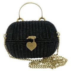 Chanel Black Wicker Picnic Gold Top Handle Satchel Flap Evening Shoulder Bag