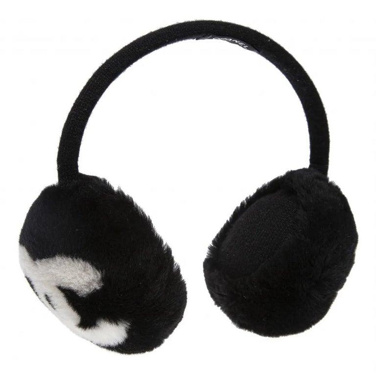 Women's Chanel Black with white CC logo earmuffs  For Sale