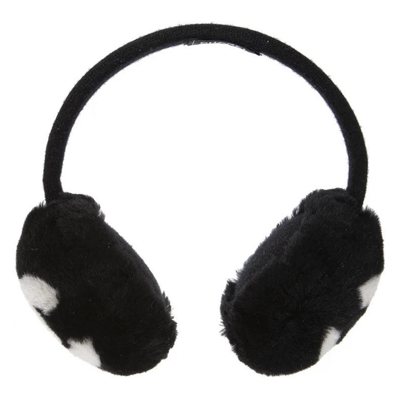 Chanel Black with white CC logo earmuffs