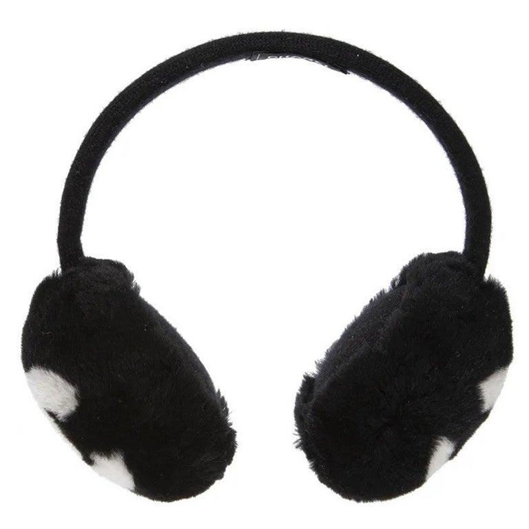 Chanel Black with white CC logo earmuffs  For Sale