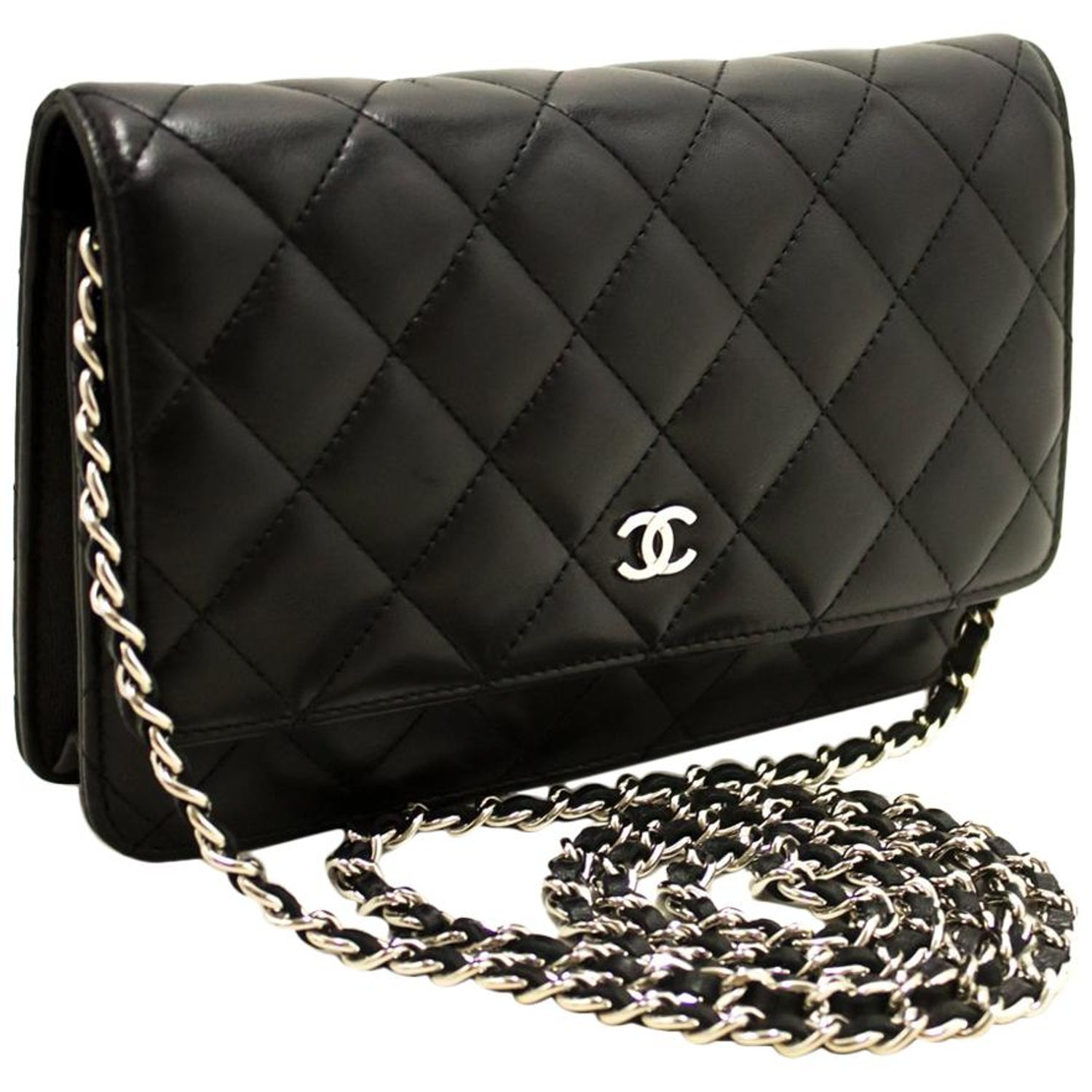 c0ae16788649 CHANEL Black WOC Wallet On Chain Shoulder Crossbody Bag Clutch For Sale at  1stdibs