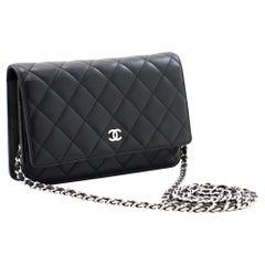 CHANEL Black WOC Wallet On Chain Shoulder Crossbody Bag Lambskin