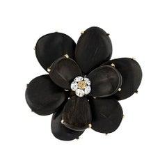 Chanel Black Wooden Flower Petals Brooch