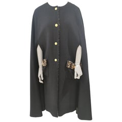 Chanel black wool and silk cape