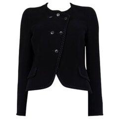 CHANEL black wool blend BRAIDED TRIM Blazer Jacket 38 S