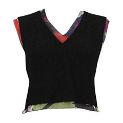 CHANEL black wool blend & multicolor silk Sleeveless Blouse Shirt 38 XS