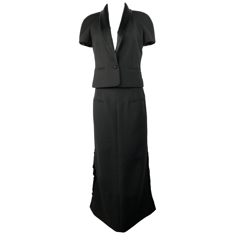 Chanel Black Wool Blend Short Sleeves Blazer Jacket and Maxi Skirt Suit Set