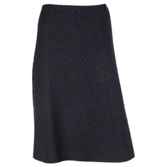 CHANEL black wool BOUCLE TWEED A-LINE Skirt 38 S